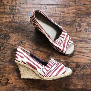 TOMS • Calypso red stripe canvas wedge espadrilles